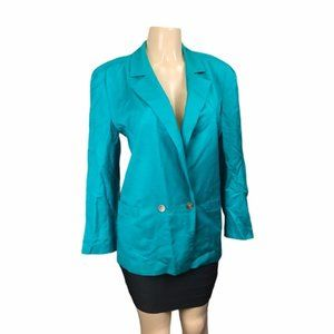 Vintage Teal Dior Blazer w/ Abalone Shell Buttons